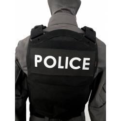 Bandeau velcro POLICE 250x100mm noir texte blanc