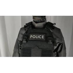 Bandeau velcro POLICE 125x50mm noir texte gris