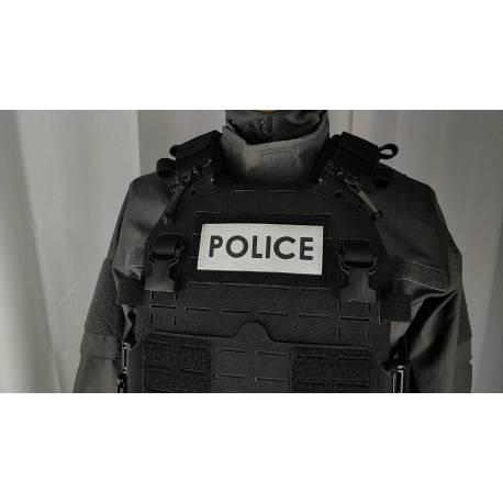 Bandeau velcro POLICE 125x50mm gris texte noir