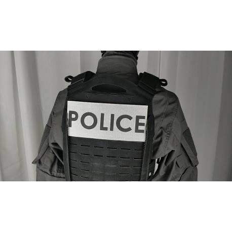 Bandeau velcro POLICE 220x100mm gris texte noir
