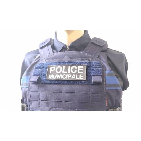 Bandeau velcro POLICE MUNICIPALE 125x50mm fond noir texte blanc
