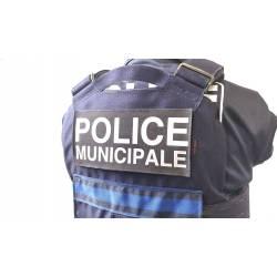Bandeau velcro POLICE MUNICIPALE 220x100mm noir texte blanc réfléchissant
